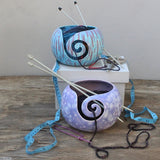 Abstract Turquoise & Divine Purple Yarn Bowls side view by Ceramix in South Africa