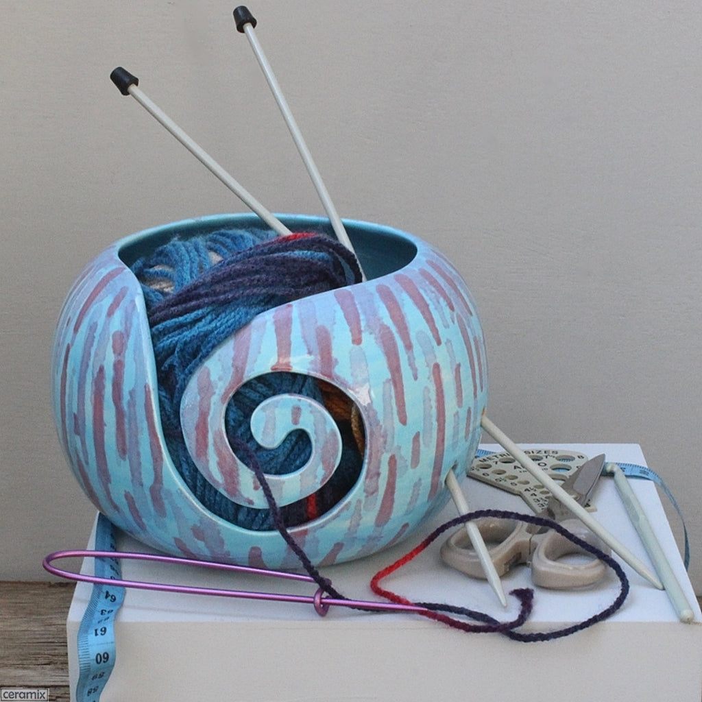 Abstract Turquoise One of a Kind Ceramic Yarn Bowl in use by Ceramix