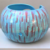 Handmade Ceramic Abstract Turquoise Yarn Bowl view of the  one hole in the back by Ceramix