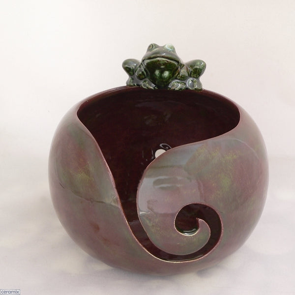 Front Swirl of the Autumn Frog Large Round Yarn Bowl Handmade by Margaret Melville Hugo from African clay and speciality glazes at Ceramix