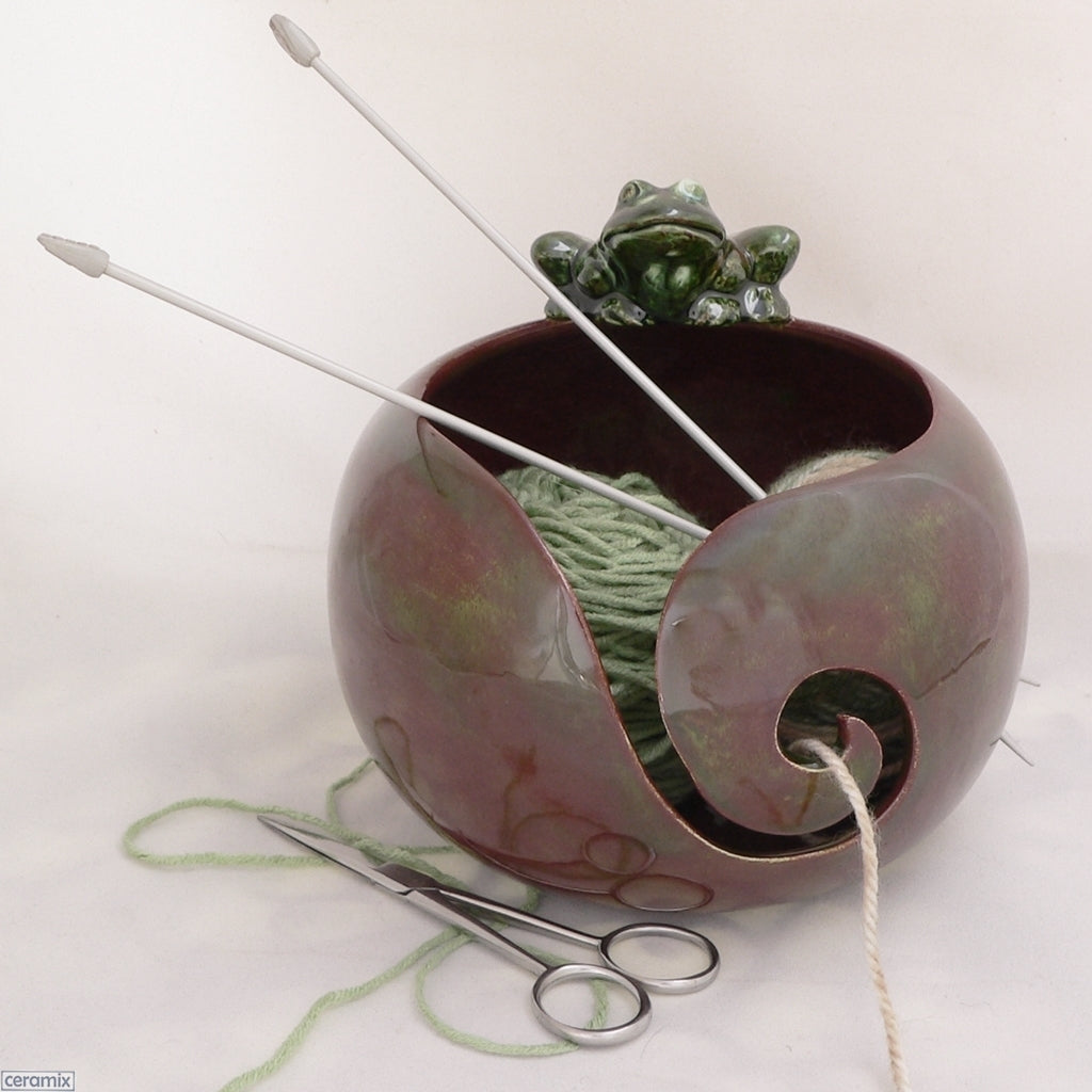 Autumn Frog One of a Kind Large Round Yarn Bowl Handmade by Margaret Melville Hugo from African clay and speciality glazes at Ceramix