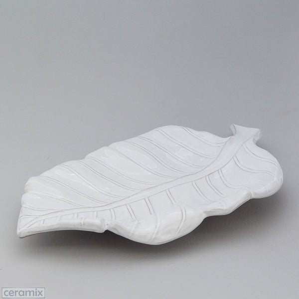 White Ceramic Leaf Platter in Terracotta Clay Glazed White by Ceramix