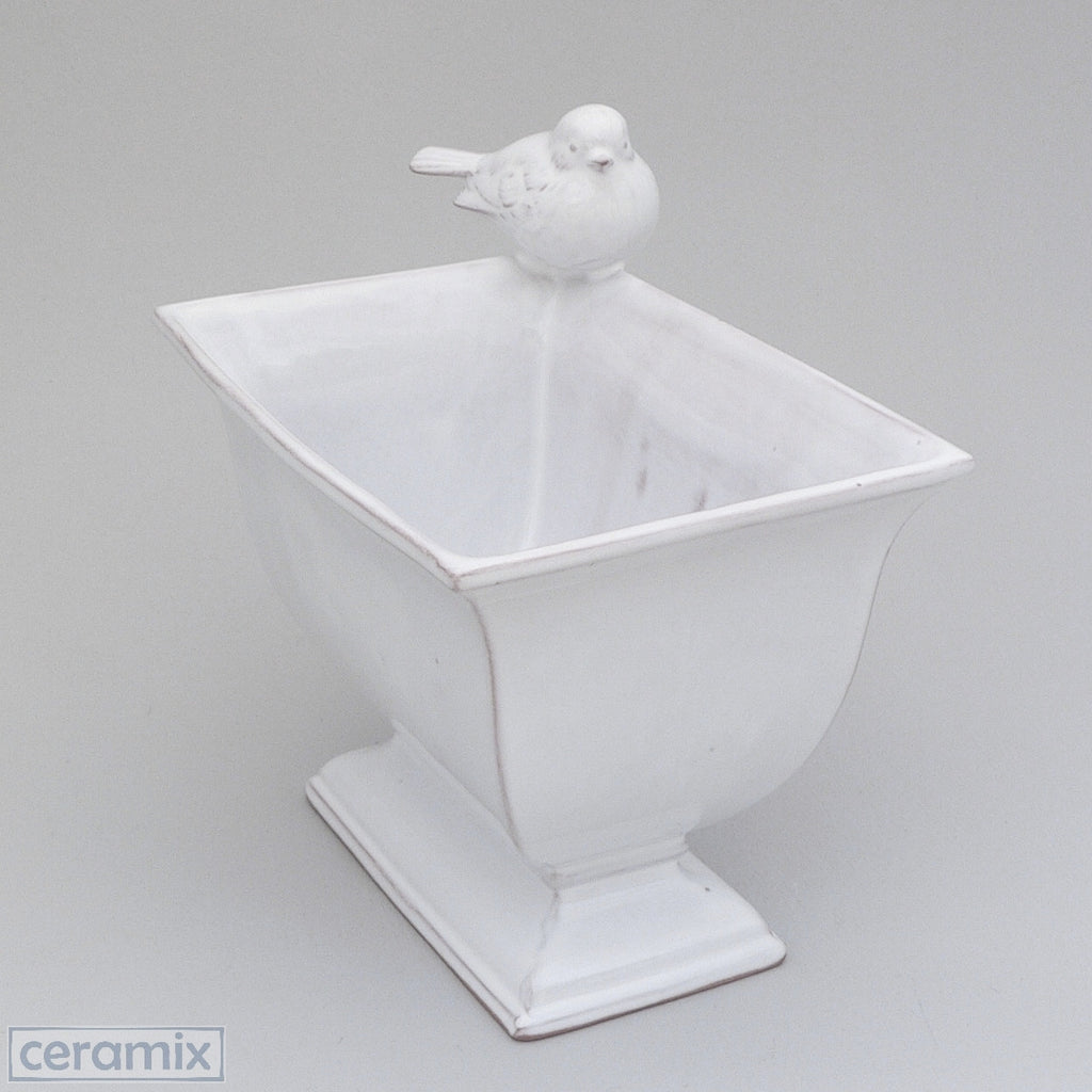 Bird Cache Pot in Terracotta Clay & glazed white Handmade