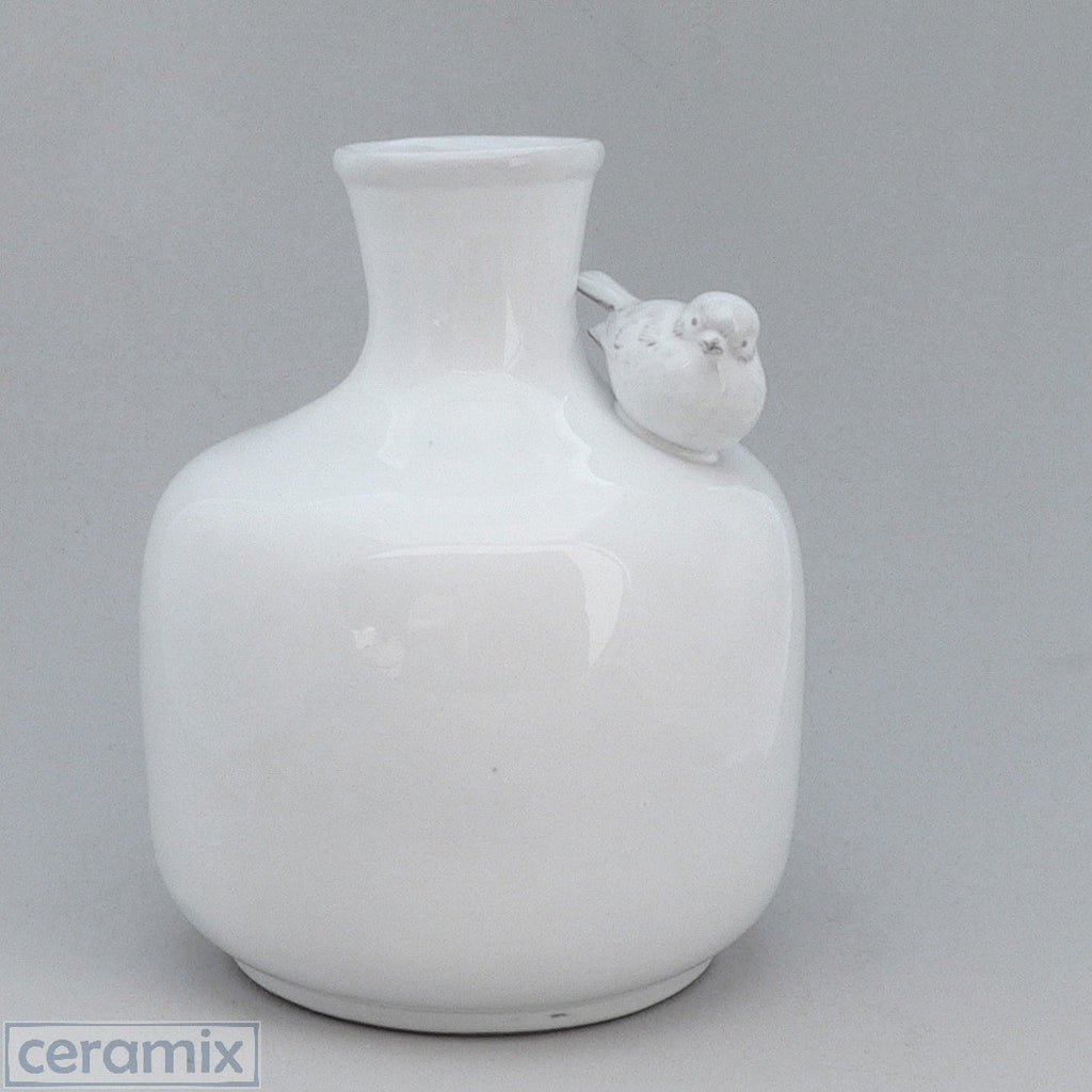 Bird Carafe handmade in terracotta ceramic clay and glazed white