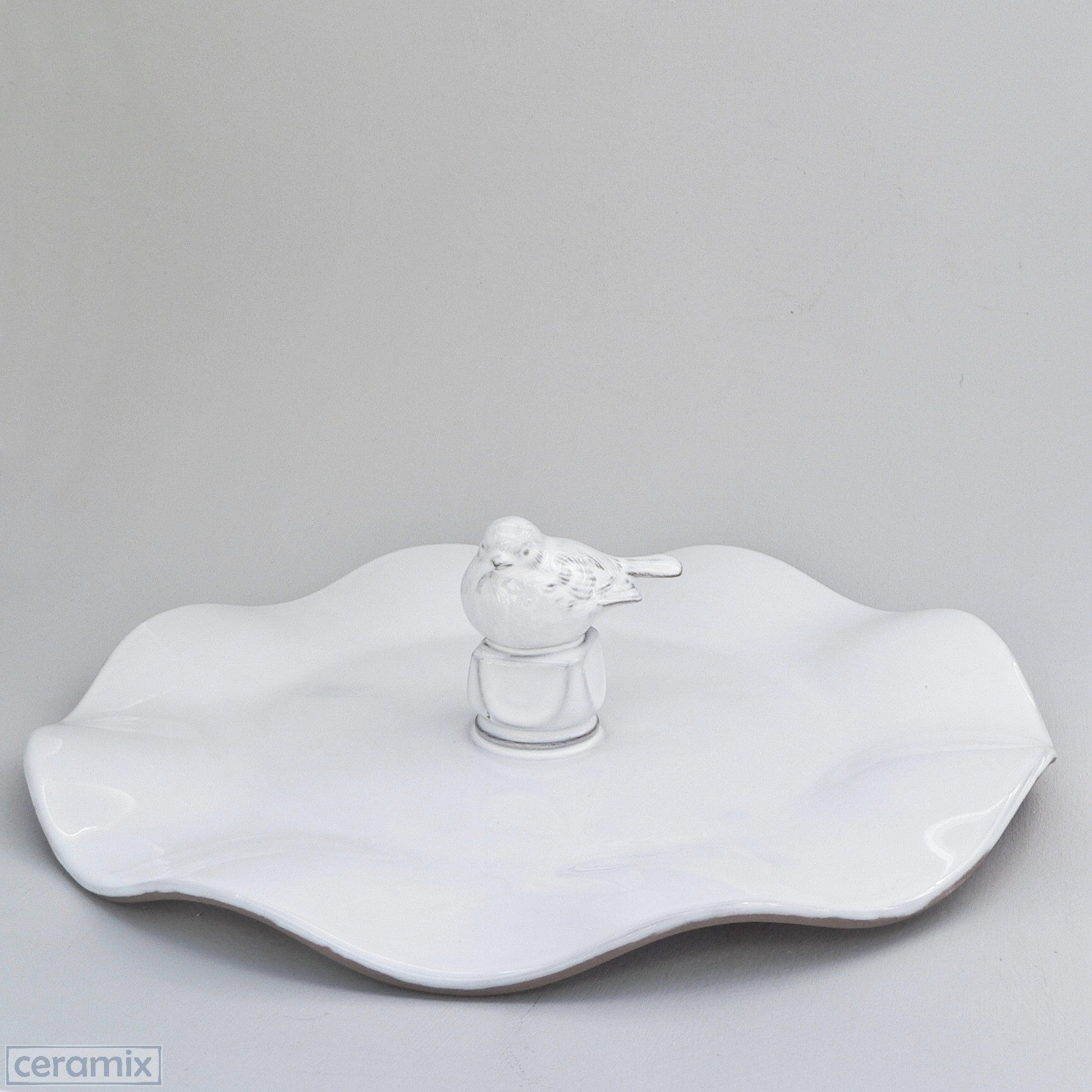 White Ceramic Bird Wavy Platter in Terracotta Clay glazed White by Ceramix