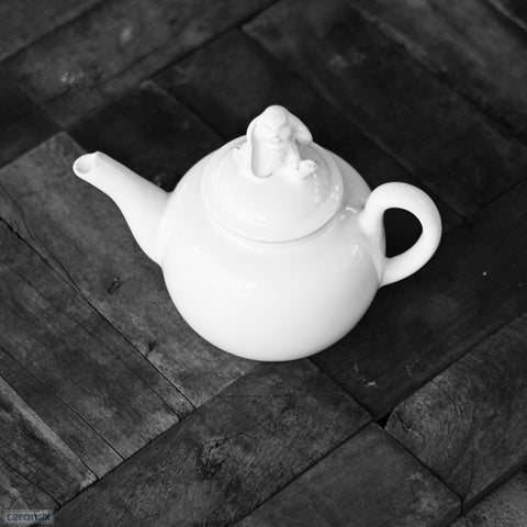 White Ceramic Sweet Sitting Bunny Teapot in Terracotta Clay Glazed White by Ceramix