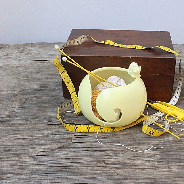 Styled Butterball Yellow Cat Yarn Bowl in use handmade by Ceramix in South Africa