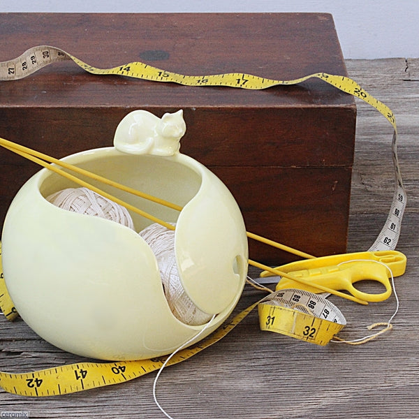 Butterball Yellow Cat Yarn Bowl in use handmade & styled by Ceramix in South Africa