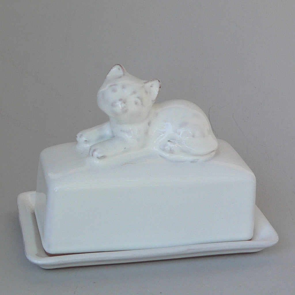 White Ceramic Cat Butter Dish in Terracotta Clay Glazed White by Ceramix