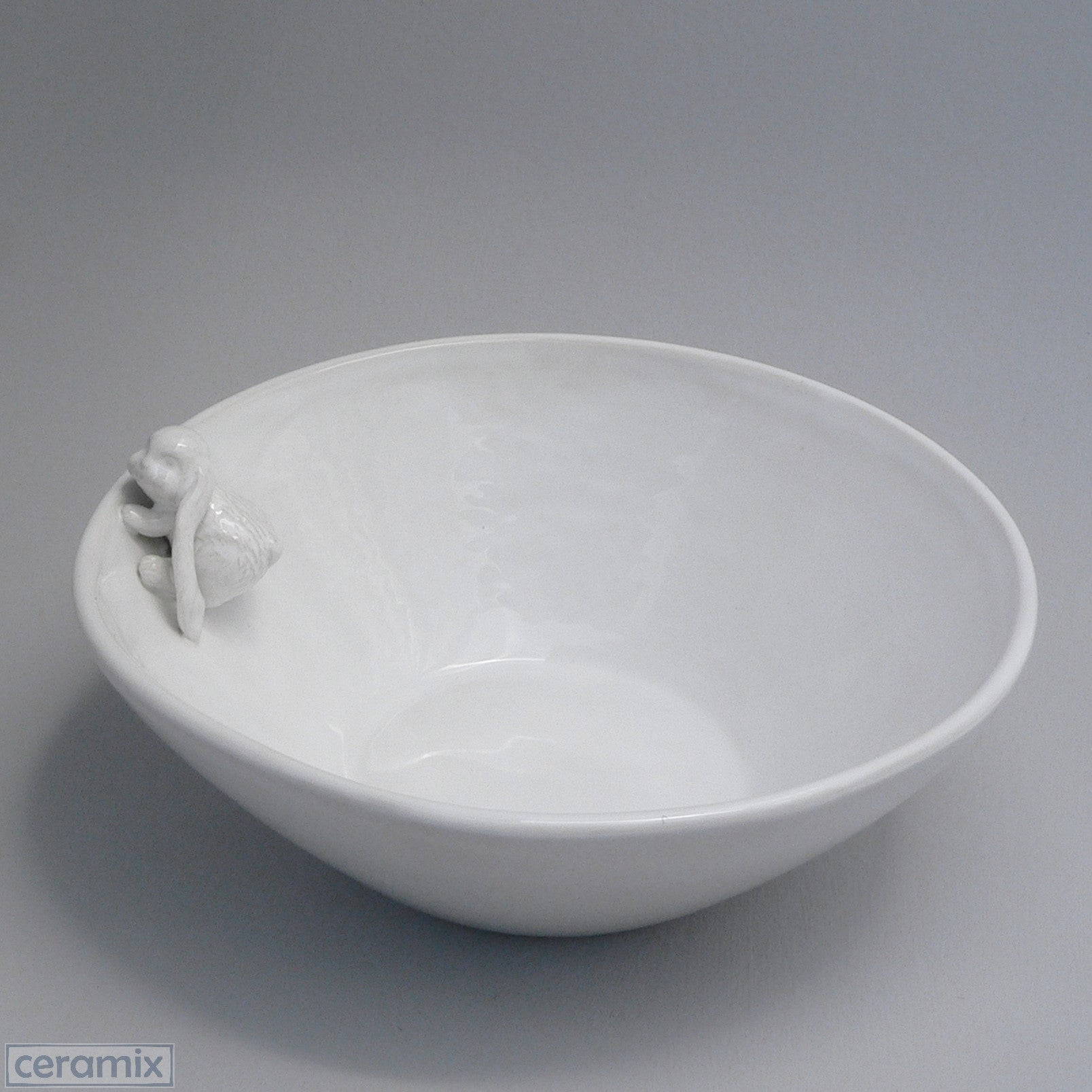 Ceramic Crawling Bunny White Fruit Bowl in Terracotta Clay glazed White by Ceramix