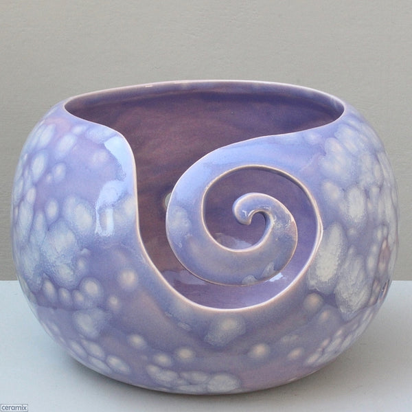 Divine Purple Yarn Bowl showing the front swirl. Handmade by Ceramix