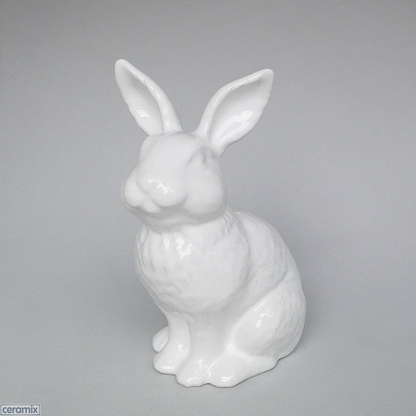White glazed medium Ceramic Rabbit. Handmade at the Ceramix Pottery in south Africa.