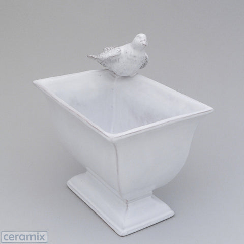 White Dove Ceramic Cache Pot in Terracotta Clay Glazed White by Ceramix