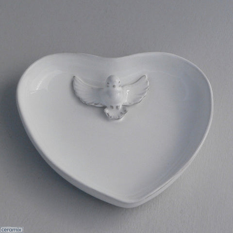 Ceramic Dove Small Heart Ring Holder in Terracotta Clay glazed White by Ceramix
