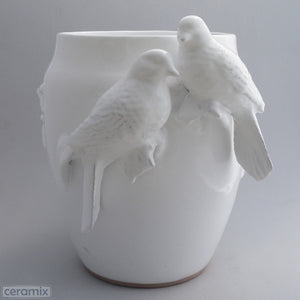White Ceramic Large Dove Vase in Terracotta Clay Glazed White by Ceramix