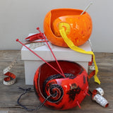 Dynamic Red & Dazzling Orange Yarn Bowls handmade and styled by Margaret Melville Hugo of Ceramix