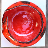 Dynamic Red Yarn Bowl viewed from above by Ceramix