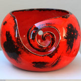 Dynamic Red Yarn Bowl front view by Ceramix