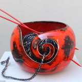 Dynamic Red Yarn Bowl in use. Handmade by Margaret Melville Hugo at Ceramix in South Africa