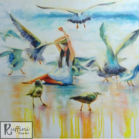 Expression Without Words 76cm x 76cm Original Oil on Canvas by Lorena Ruffini available from Ceramix.co.za