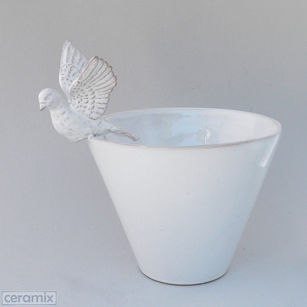 White Ceramic Flying Dove Deep Bowl in Terracotta Clay Glazed White by Ceramix