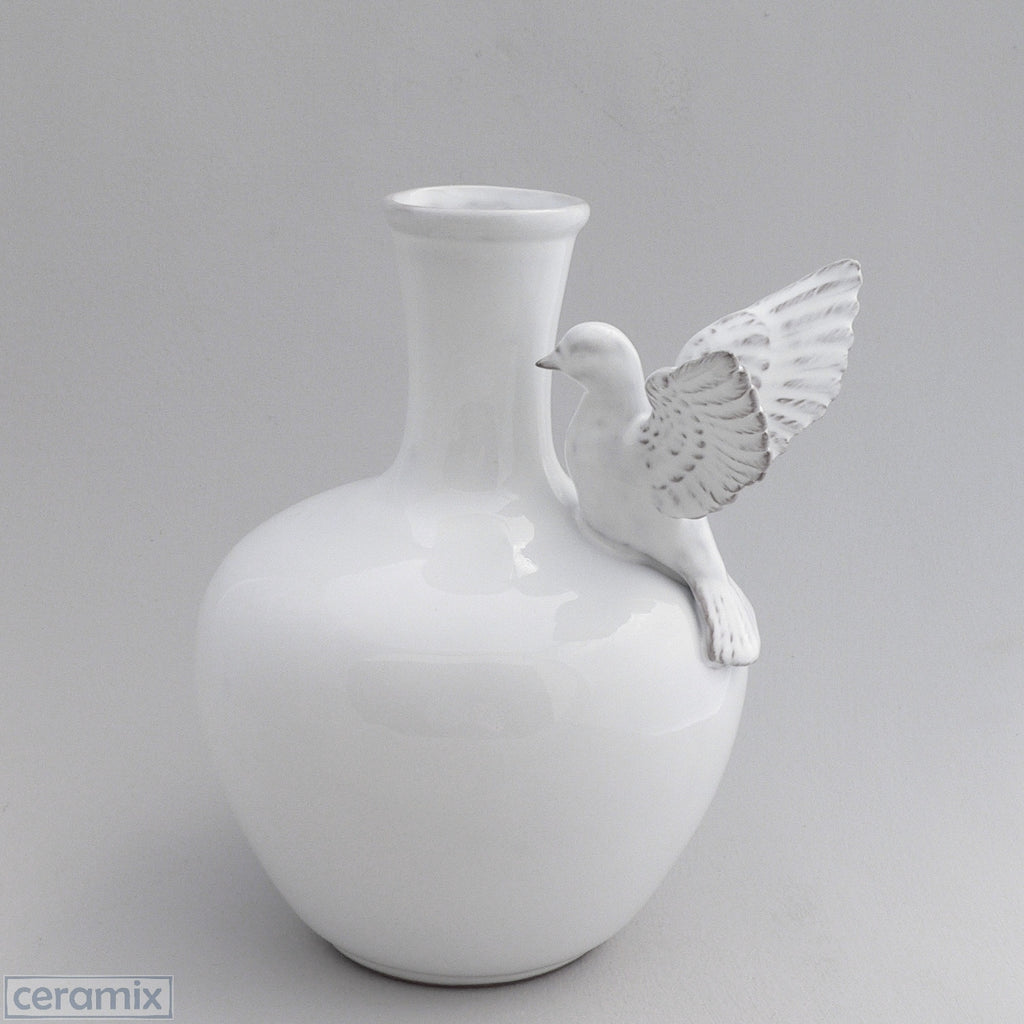 White Ceramic Flying Dove Vase in Terracotta Clay Glazed White by Ceramix