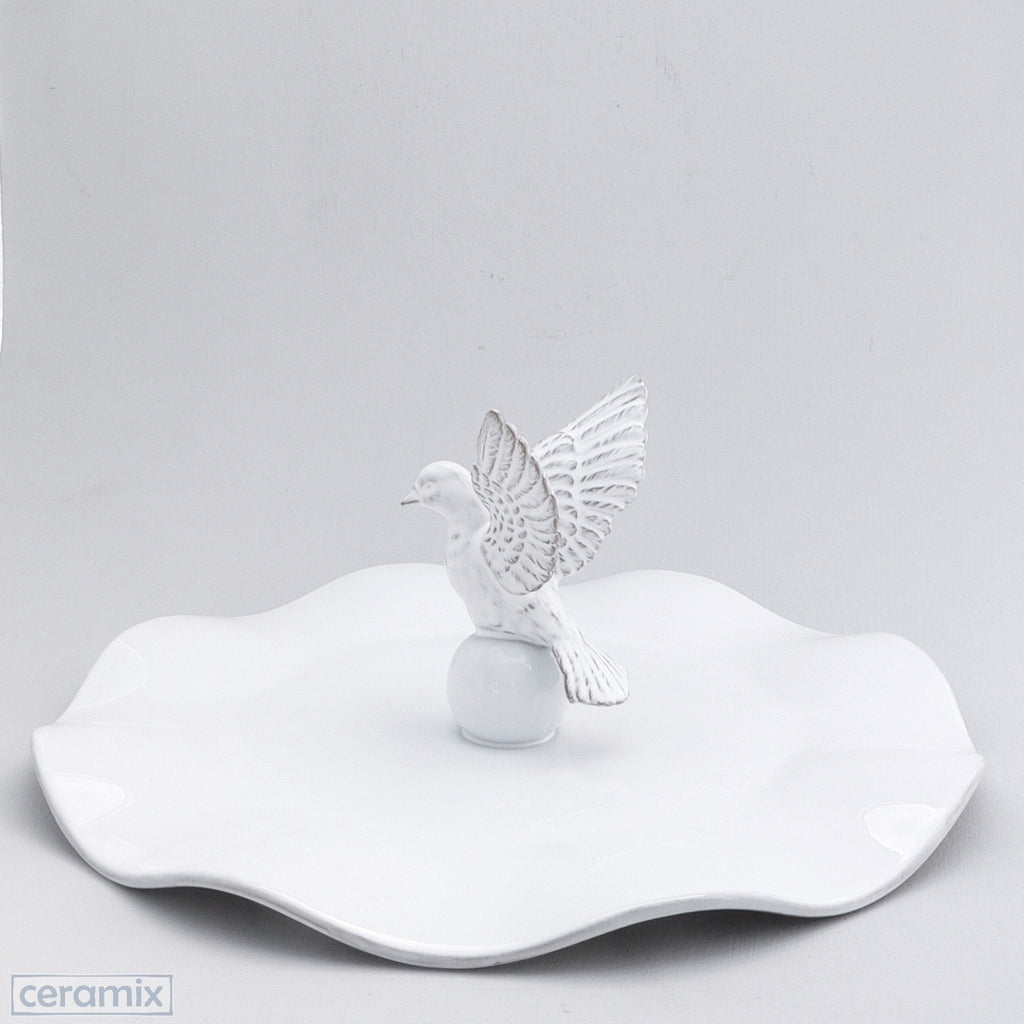 White Ceramic Flying Dove Wavy Platter in Terracotta Clay Glazed White by Ceramix