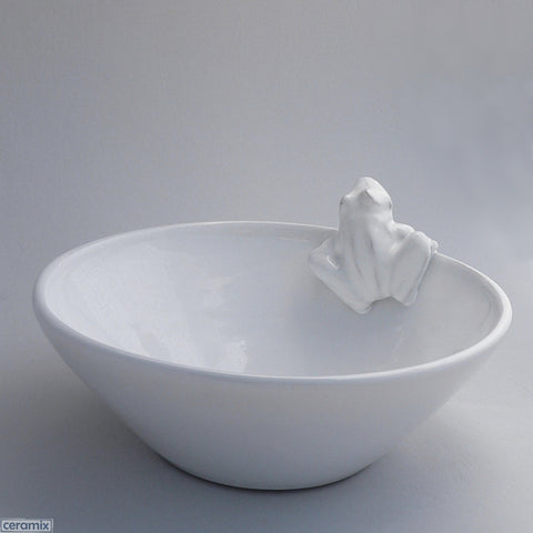 White Ceramic Frog Fruit Bowl in Terracotta Clay Glazed White by Ceramix