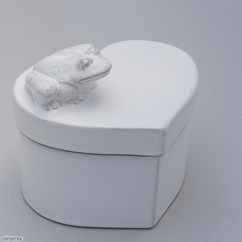 Frog White Ceramic Small Heart Box in Terracotta Clay Glazed White by Ceramix
