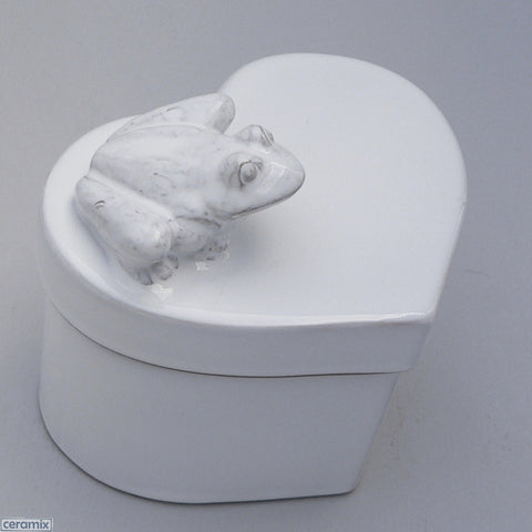 White Ceramic Frog Small Heart Box in Terracotta Clay Glazed White by Ceramix