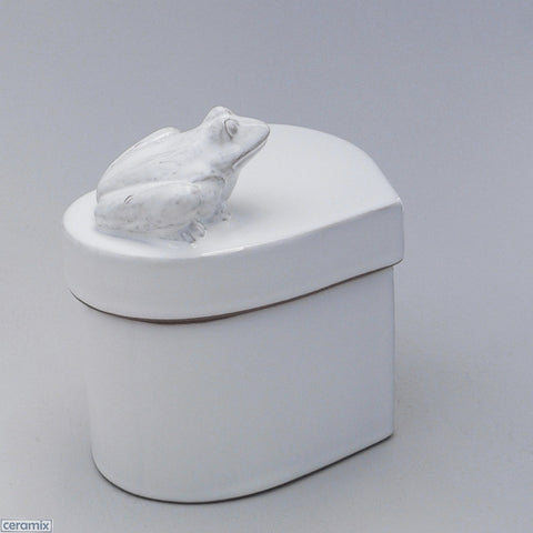 Ceramic White Frog Small Heart Box in Terracotta Clay Glazed White by Ceramix