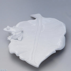 White Ceramic Frog Leaf Platter in Terracotta Clay Glazed White by Ceramix