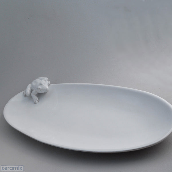 White Ceramic Frog Oval Platter in Terracotta Clay Glazed White by Ceramix