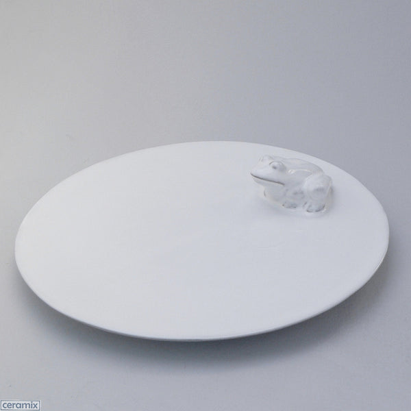 Frog White Ceramic Round Plate in Terracotta Clay Glazed White by Ceramix