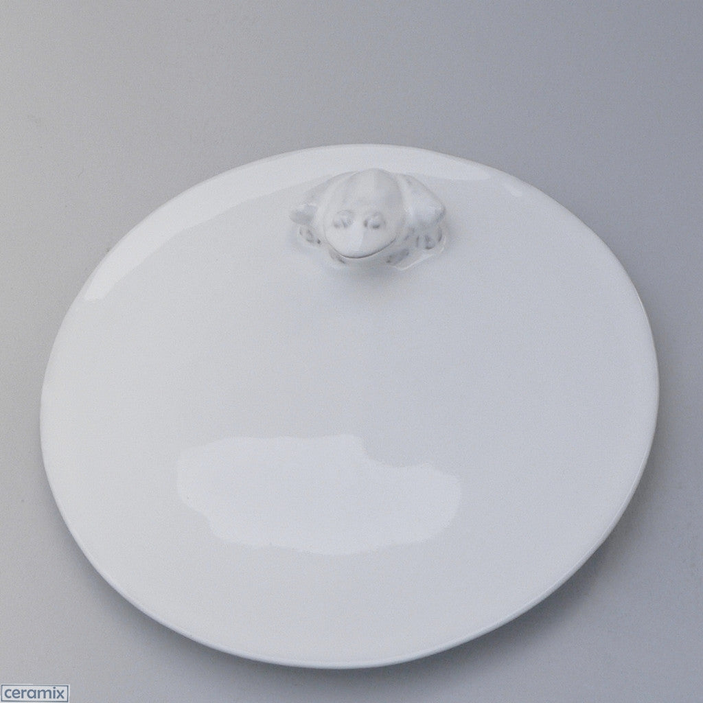 Ceramic White Frog Round Plate in Terracotta Clay Glazed White by Ceramix