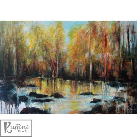 Golden Reflections 76cm X 61cm Acrylic on Canvas by Lorena Ruffini available from Ceramix.co.za @118Allan