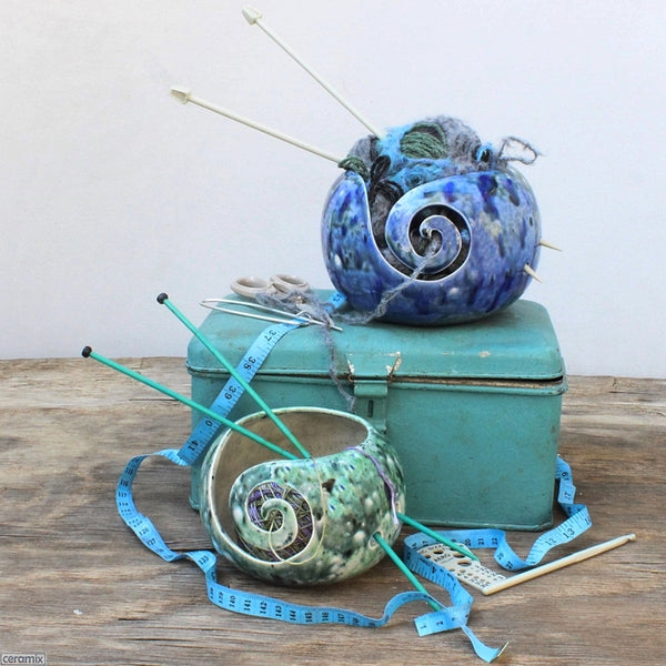 Ceramic Heady Blue & Motley Green Yarn Bowls made and styled by Ceramix in South Africa