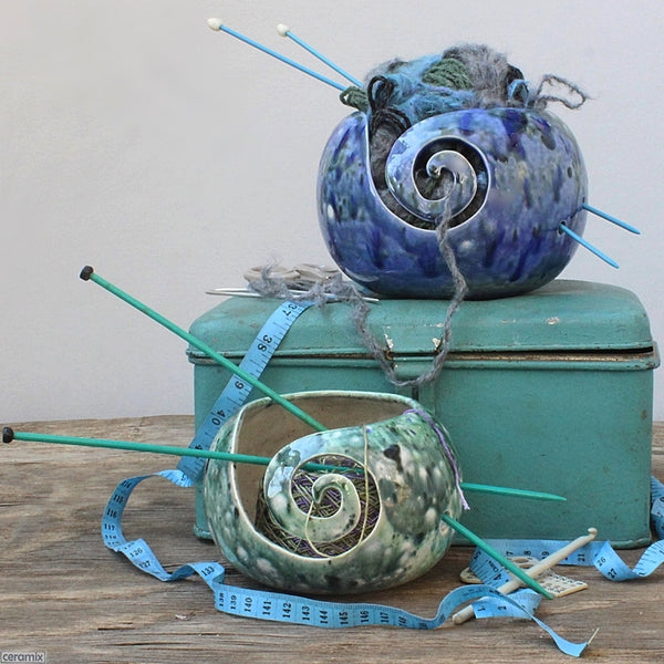 Heady Blue & Motley Green Yarn Bowls handmade by Margaret Melville hugo at Ceramix in South Africa
