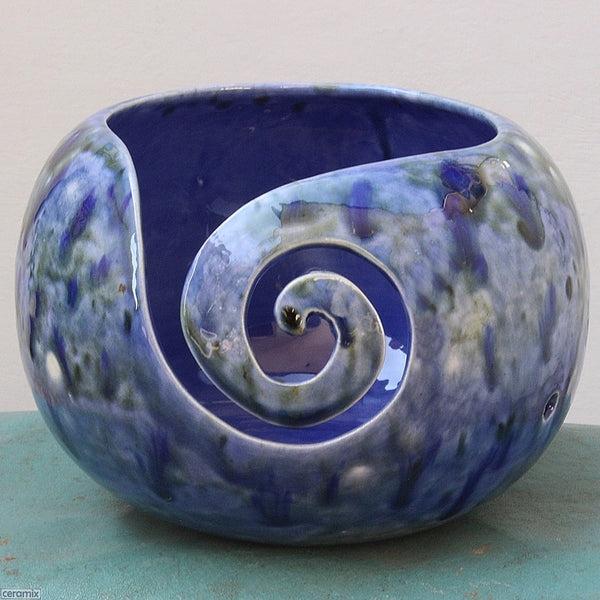 Front swirl of the Heady Blue Yarn Bowl by Ceramix