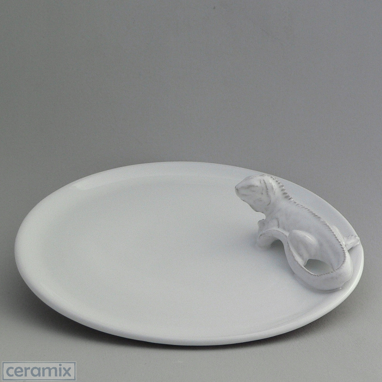 White Ceramic Iguana Cheese Board in Terracotta Clay Glazed White by Ceramix