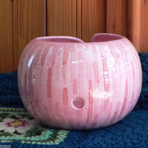 Inviting Pink Large Yarn Bowl view of back one hole by Ceramix