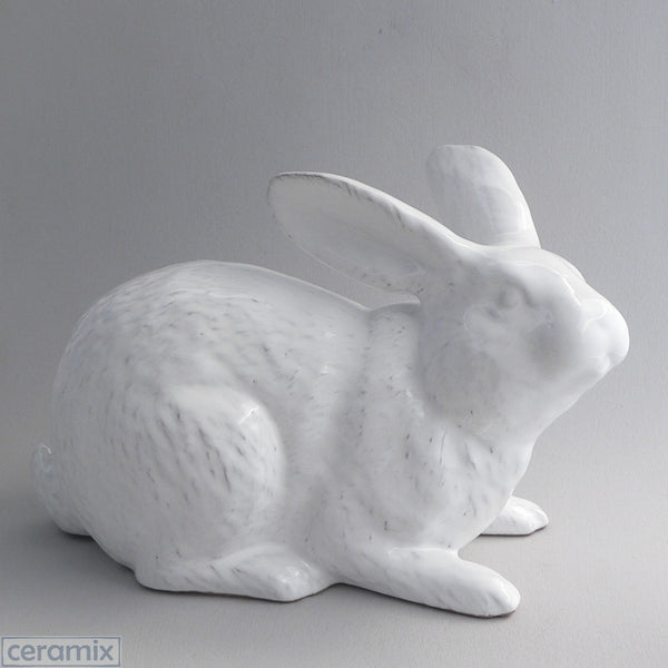 Large Jimmy Crouching White Ceramic Bunny
