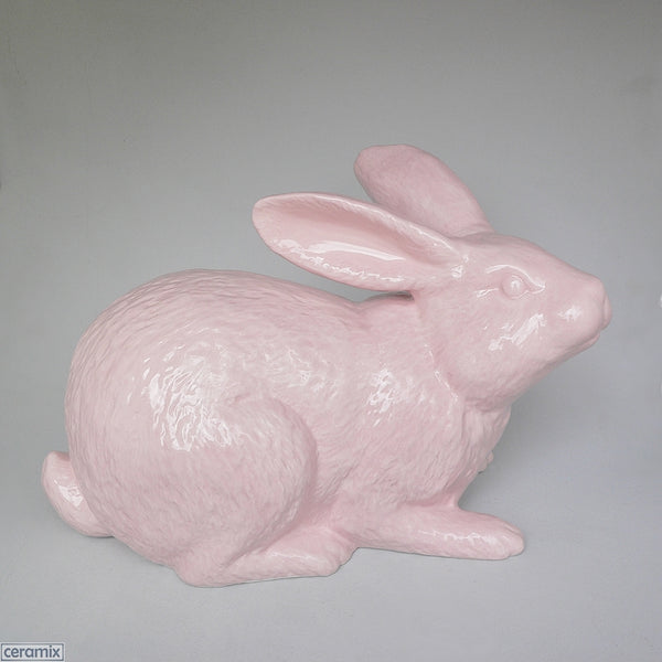 Large Ceramic Rabbit glazed Pink at the Ceramix pottery in South Africa