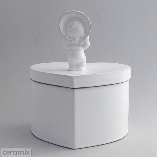 White Ceramic Kewpie Large Heart Box in Terracotta Clay Glazed White by Ceramix