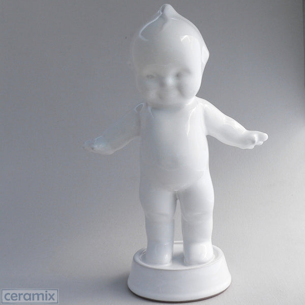 White Ceramic Kewpie on Round Base in Terracotta Clay Glazed White by Ceramix