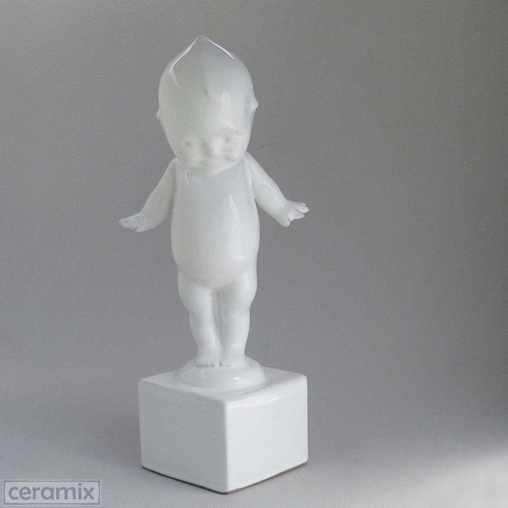 White Ceramic Kewpie on Square Base in Terracotta Clay Glazed White by Ceramix