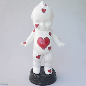 Red Heart Ceramic Kewpie made from White Glazed White Clay