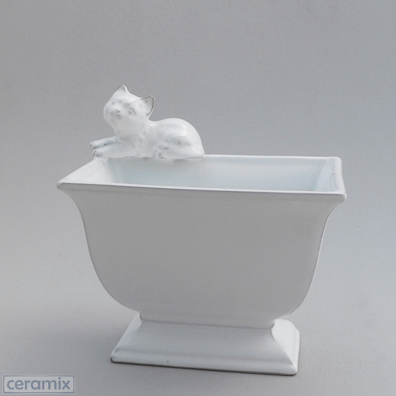White Ceramic Cat Container in Terracotta Clay Glazed White by Ceramix