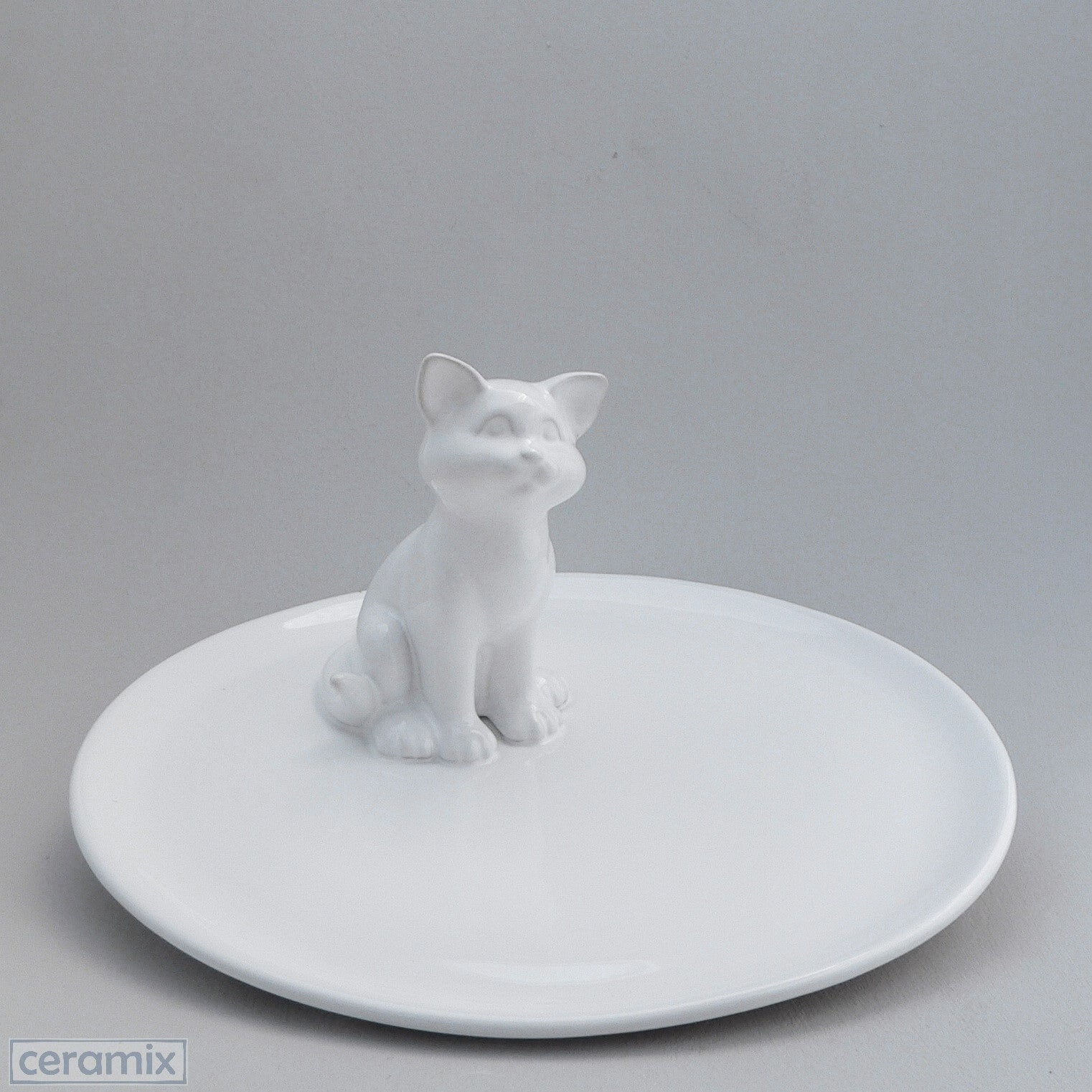White Ceramic Cat Cheese Board in Terracotta Clay Glazed White by Ceramix