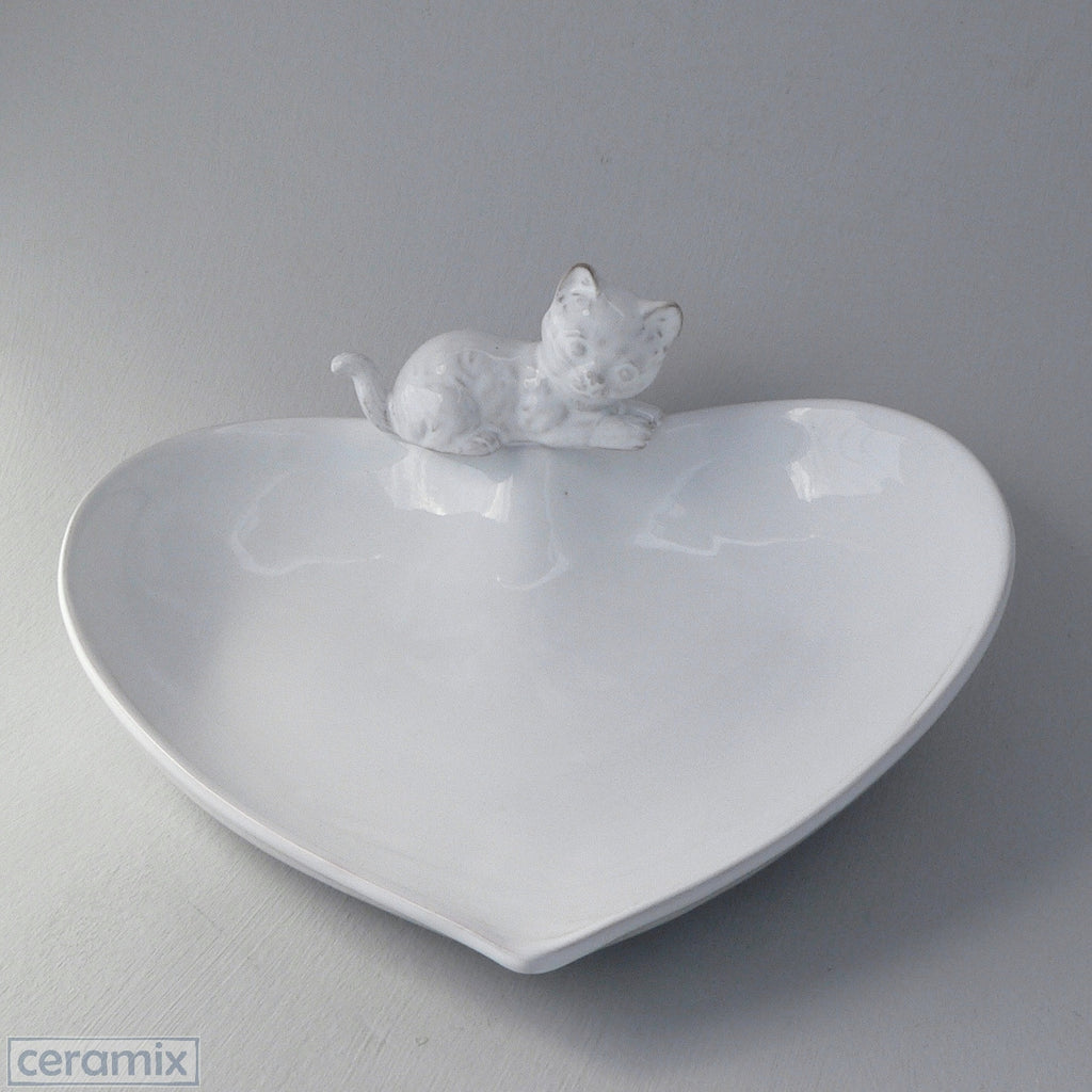 White Ceramic Cat Heart Bowl in Terracotta Clay Glazed White by Ceramix